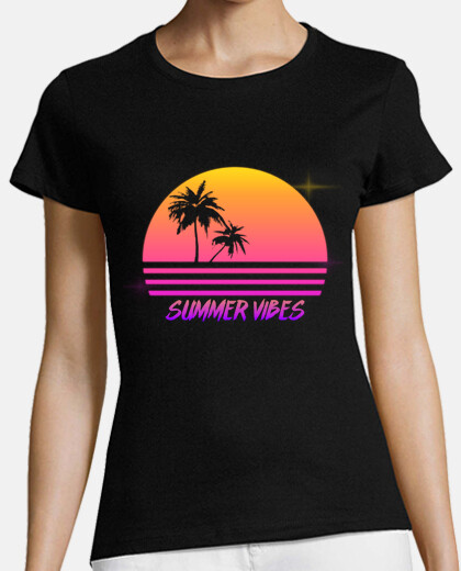 Summer Vibes - Retro Synth Sunset Style - Womans shirt