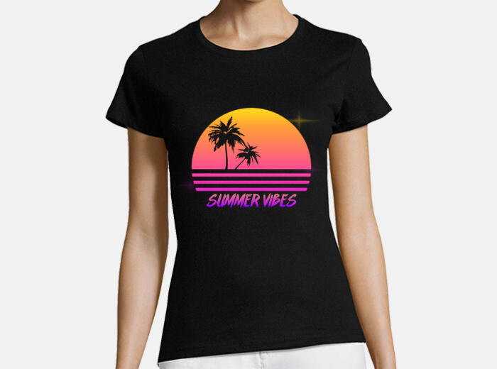9e8e5cfd6d7c Summer Vibes - Retro Synth Sunset Style - Womans shirt T-shirt - 1875445