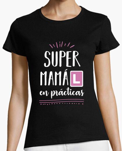 Tee-shirt super maman en pratique (rose)