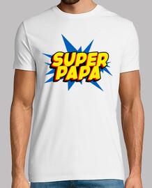 super Papa - Hombre, manga corta, blanco, calidad extra