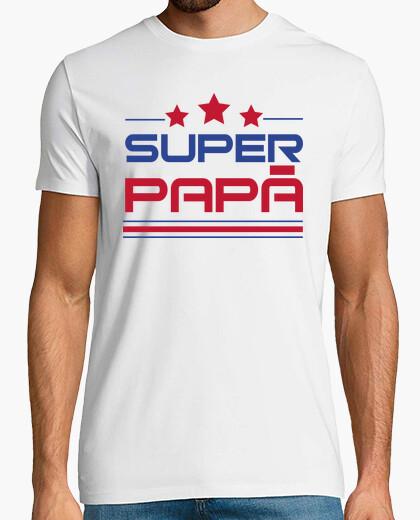 Tee-shirt super papa - homme, manche courte, blanc, qualité extra