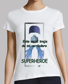 Superheroes. Mujer, manga corta, blanca, calidad premium