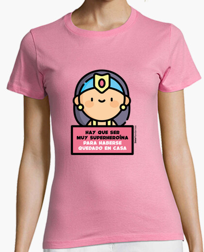 Superheroine in pink house t-shirt