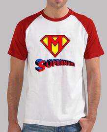 supermom, l'homme, le style de base-ball, blanc et rouge