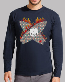 surfing skull, man, long sleeve, navy blue
