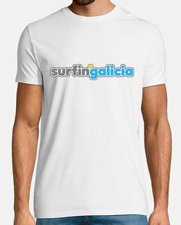 surfingalicia beach style - Hombre, manga corta, blanco, calidad extra