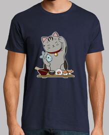 Sushi cat Hombre, manga corta, azul marino, calidad extra