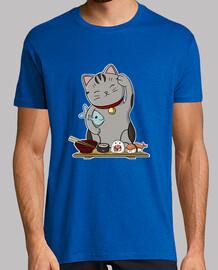 sushi cat man, short manga , royal blue, extra quality