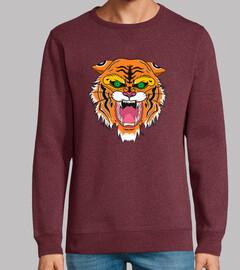 sweat-shirt sans capuche, tigre