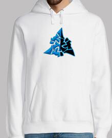 sweat à capuche symbole wowchakra bleu néon