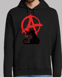 sweatshirt man - black anarchist cat