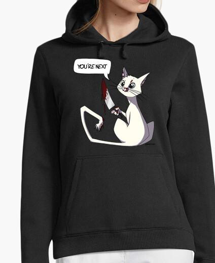 Sweatshirt woman cat killer white hoody