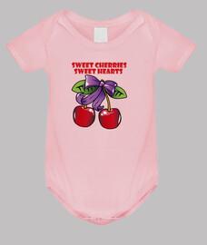 sweet cherries, sweet hearts. body baby, pink