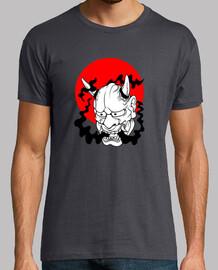 t- shirt japonais minimaliste oni masque yokai ogre soleil rouge