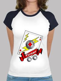 t- shirt petanque-shooter-frau als schuss