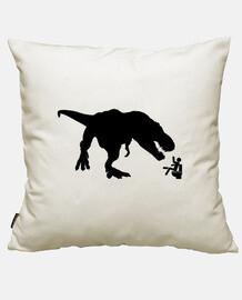 t-rex vs uomo sulla toletta