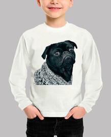 t-shirt a manica lunga con disegno cane carlino pug con jersey