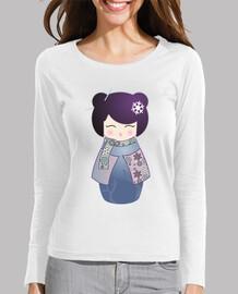 t-shirt a maniche lunghe inverno kokeshi