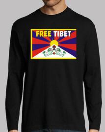 t-shirt a maniche lunghe n / b uomo - free tibet