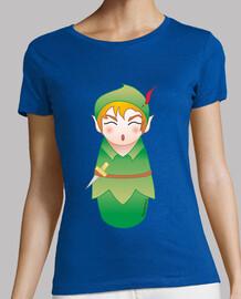 t-shirt and bell peter pan kokeshis