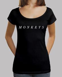 t-shirt artiche monkeys donna nera, collo ampio e fit loose, artiche monkeys