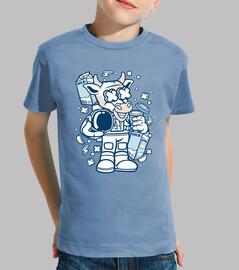 t-shirt astronauta divertente della mucca del cartoni animati
