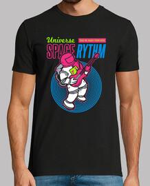t-shirt astronauta suonare chitarra spazio stelle universo