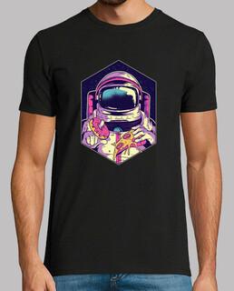t-shirt astronauten essen donut und pizza