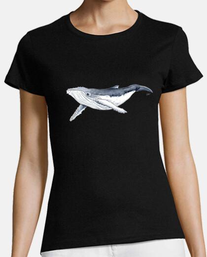 t-shirt baby whale yubarta - woman, short manga , black, premium quality