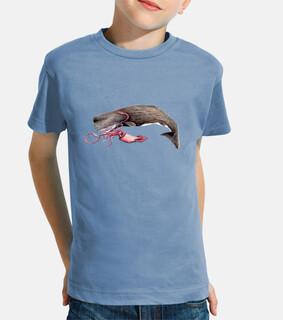 t-shirt bambino capodoglio ragazza e calamari