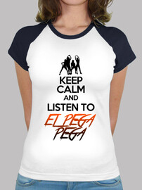 T-shirt baseball donna con logo KEEP CALM AND LISTEN TO EL PEGA PEGA