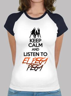 T-shirt baseball donna con logo KEEP CALM AND LISTEN TO EL PEGA PEGA