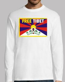 t-shirt bianca a maniche lunghe uomo - free tibet
