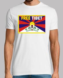t-shirt bianca unisex manica corta - free tibet