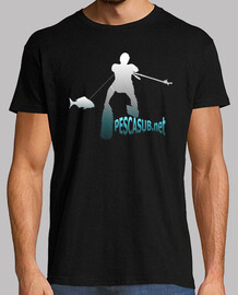 t-shirt black - blue white silhouette