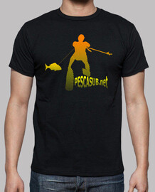 t-shirt black - yellow orange silhouette