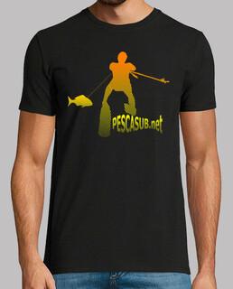 t-shirt black - yellow orange silhouette