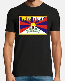 t-shirt black manga unisex short - free tibet