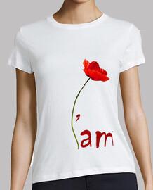T-Shirt Blanc Femme - IAM coquelicot