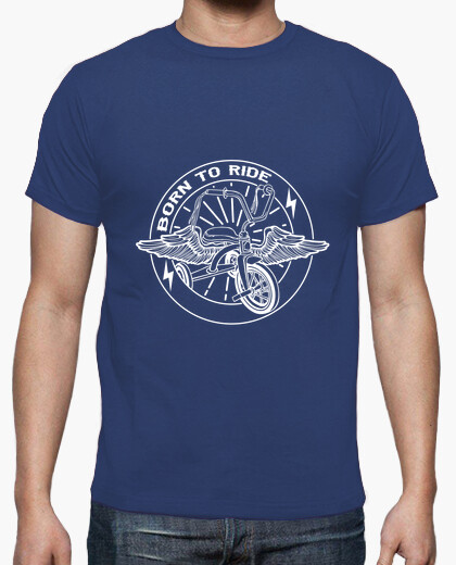 T-shirt born per ride bianco
