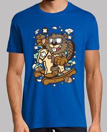 t-shirt cartoni animati animale giovanile castoro
