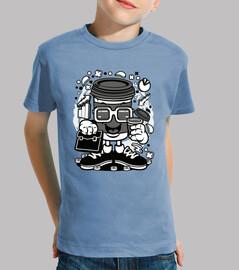 t-shirt cartoni animati bicchiere cafe scolaro