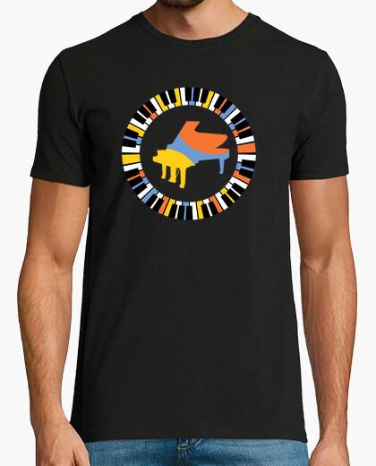 Tee-shirt t-shirt coloré de piano circulaire