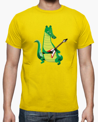T-shirt crocodile rock in giallo