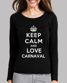 t-shirt da donna equipaggiata manica lunga keep calm and amore carnevale