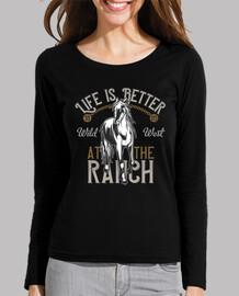 t-shirt da donna vintage wild west cavalli ranch la vita è better al ranch