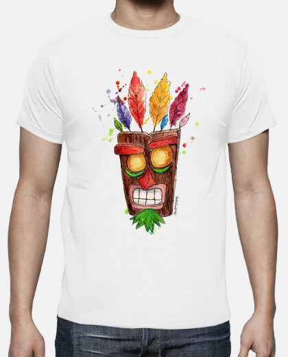 t-shirt da uomo aku aku maschera