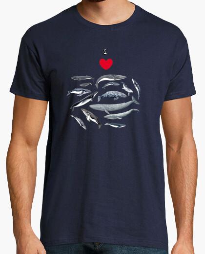 T-shirt da uomo amo le balene