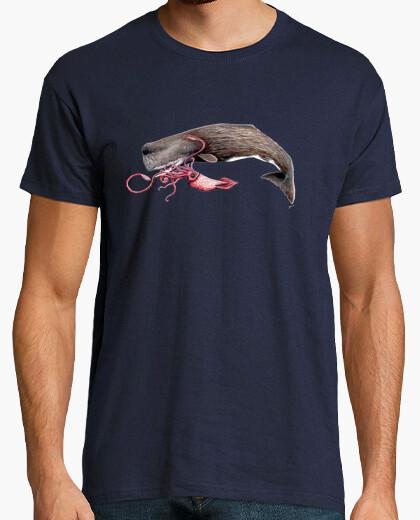 T-shirt da uomo capodoglio e calamari