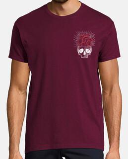 t-shirt da uomo del cuore teschio granato